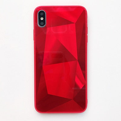Diamond Mirror Shockproof iPhone Ultra Thin Case - Red