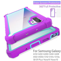Samsung Galaxy Shockproof Cases w/ Screen Protector - Gray/Light Blue
