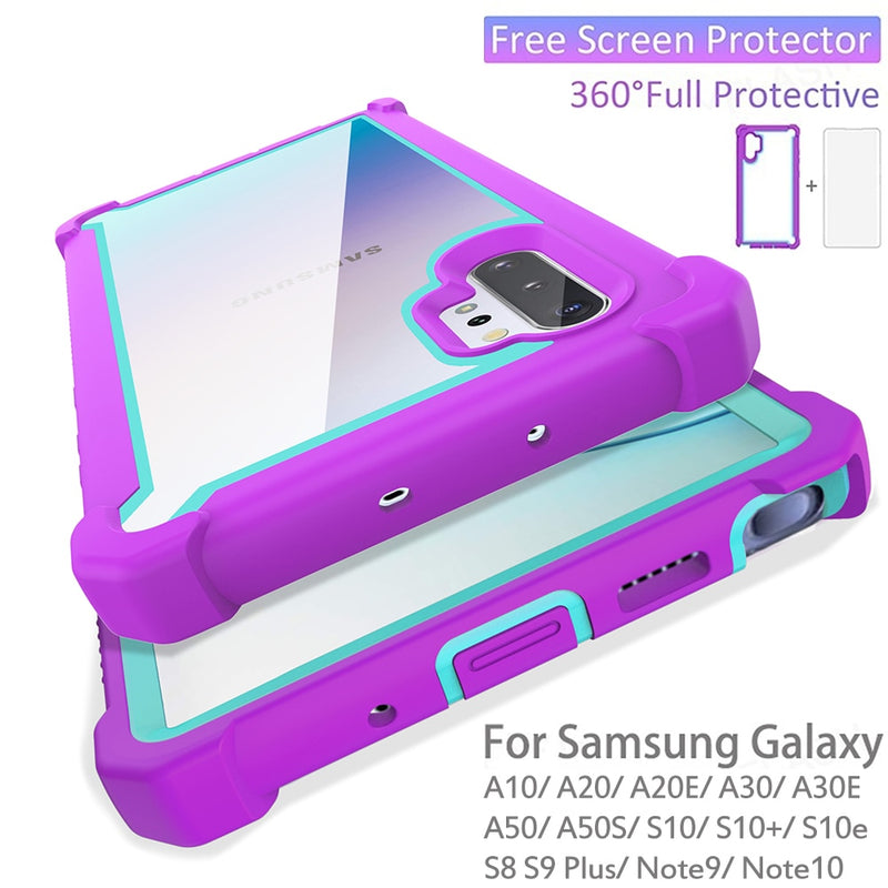 Samsung Galaxy Shockproof Cases w/ Screen Protector - White/Pink