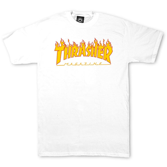 Thrasher Flame Logo Tee (White)