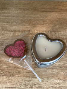 Heart Candle with Tasmanian Chocolate