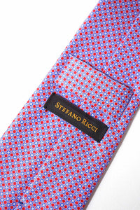 STEFANO RICCI Tie red × blue pattern
