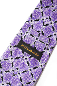 STEFANO RICCI Tie  purple × black pattern