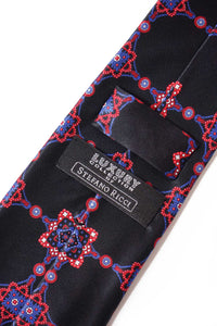 STEFANO RICCI Tie black × red pattern