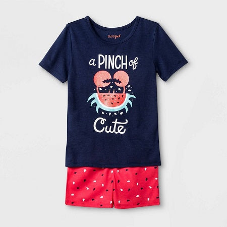 Cat & Jack Toddler Girls' Watermelon and Crab Print Pajama Set