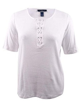 Karen Scott Women's Plus Size Lace-Up T-Shirt