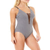 Time and Tru Women's Gingham Strappy V-Neck Swimsuit
