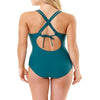 Time and Tru Women's Teal Lace V-Neck Swimsuit