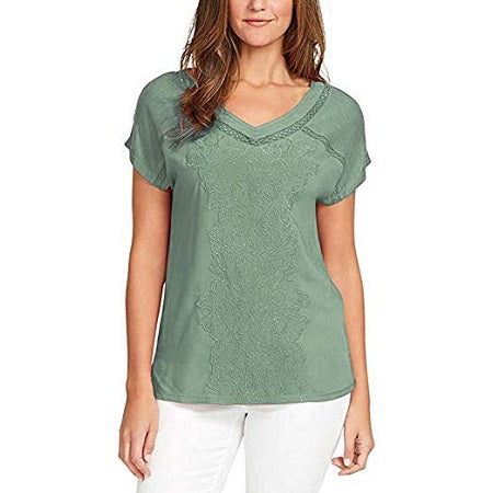 Gloria Vanderbilt Ladies V-Neck Embroidered Cotton Top