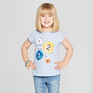 Cat and Jack Toddler Girls' Short Sleeve Numbers T-Shirt