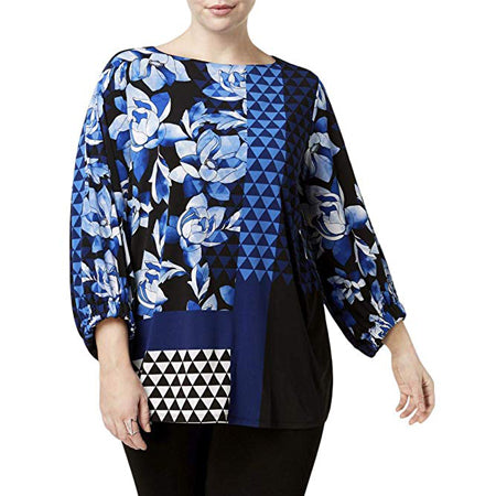 Alfani Plus Size Printed Boat-Neck Tunic Top