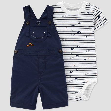 Carter's  Baby Boys' 2 Piece Whale Print Shortall Set