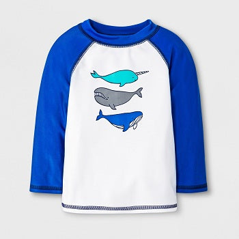 Cat & Jack Baby Boys' Narwhal & Whale Rash Guard
