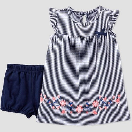 Carter Baby Girls' Striped Dress Set