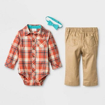 Cat & Jac Baby Boys' 2pc Plaid Top & Pants Set