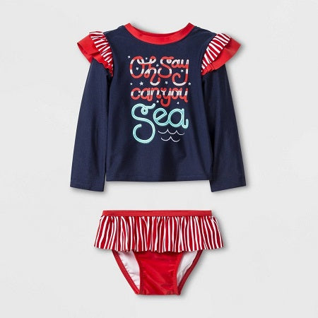 Cat & Jack Baby Girl' Long Sleeve 'Oh Say Can You Sea' Rash Guard Set