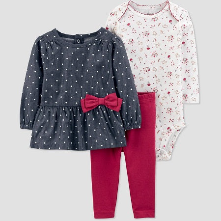 Carter's Baby Girls' 3 piece Plum Bow Tunic with Legging