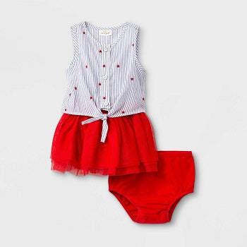 Cat & Jack Red Baby Girls' Star Button-Up Dress Set