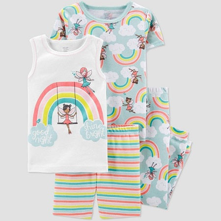 Carter's Baby Girls' 4 Piece Rainbow Fairies Pajama Set