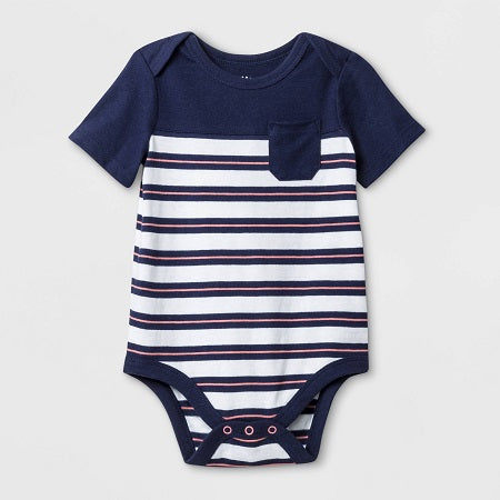 Cat & Jack Baby Boys' Short Sleeve Rugby Striped Bodysuit