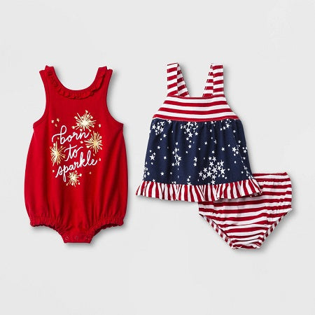 Cat & jack Girls 3 Piece Born To Sparkle Romper & Dress With Pant