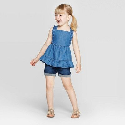 Cat & Jack Baby Girls' Denim Blouse