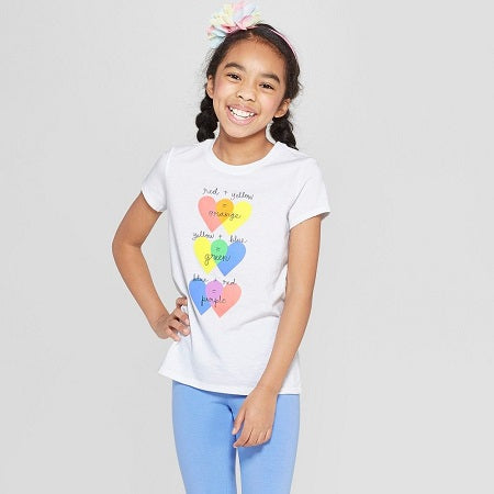 Cat & Jack Toddler Girls' Short Sleeve 'Hearts' Graphic T-Shirt