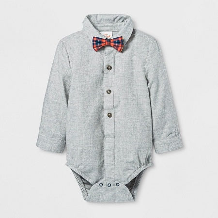 Cat & jack Baby Boys' Woven Bow tie Bodysuits