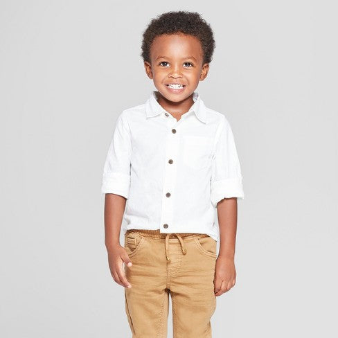 Cat & Jack Toddler Boys' Long Sleeve Oxford Button-Down Shirt