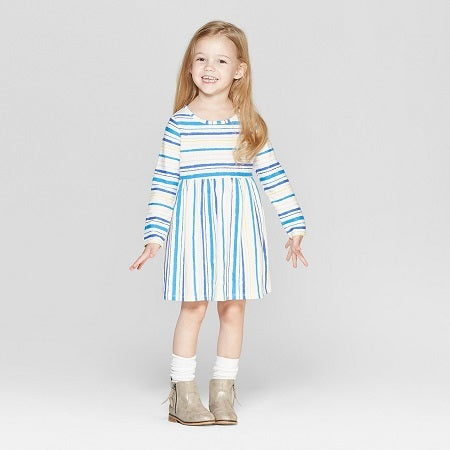Cat & Jack Toddler Girls' Long Sleeve Stripe All Over Print Dress