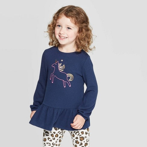 Cat & Jack Toddler Girls' Unicorn Cozy Peplum Top