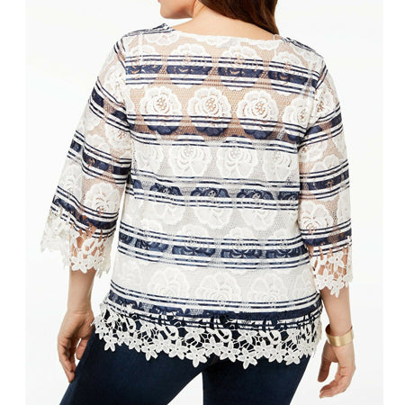 Charter Club Plus Size Striped Lace Blouse