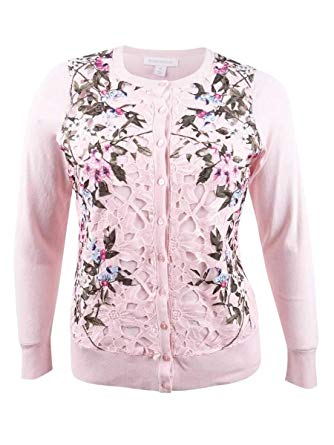 Charter Club Floral-Print Lace Cardigan
