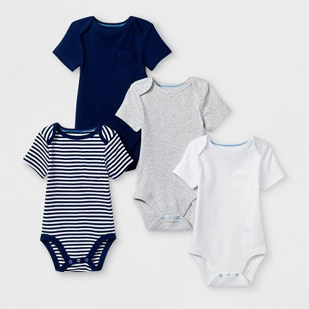 Cloud Island Baby Boys' 4 Pack Short Sleeve Bodysuit