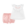 Carter Baby Girls' Giraffe Embroidered Top and Stripe Shorts Bottom Set