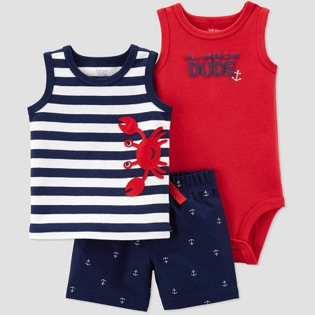 Carter's Baby Boys' 3 piece Crab Embroided Stripe Top and Bottom Set