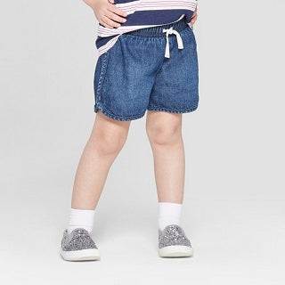 Cat & Jack- Dark Blue Toddler Girls' Woven Pull-On Shorts