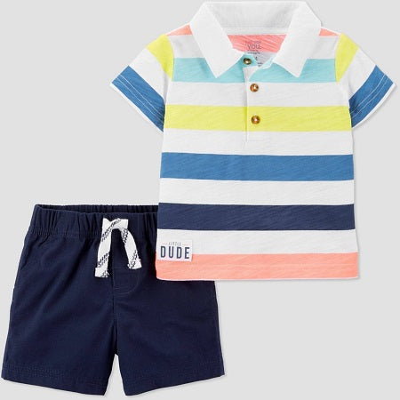 Carter's Baby Boys' 2 Pcs Bright Stripe Polo & Shorts Set