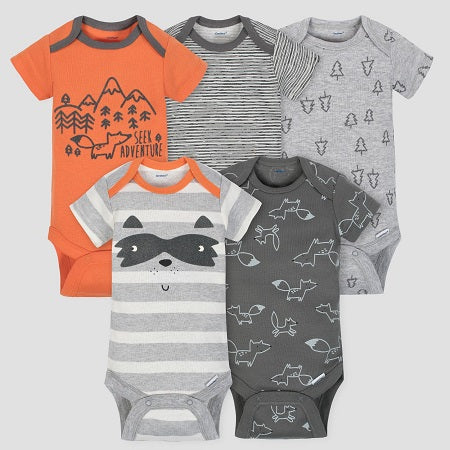 Gerber Baby Boys' 5 Pack Short Sleeve Onesies Bodysuit Explorer