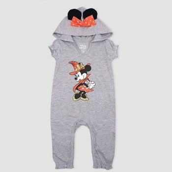 Girl's Disney Mickey Mouse & Friends Minnie Mouse Hooded Romper