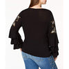 Inc Internationa Embroidered Tiered-Sleeve Top