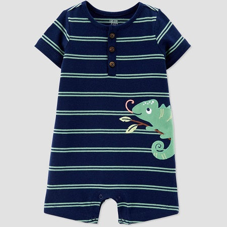 Carter's Baby Boys' Chameleon Embroided Stripe One Piece Romper