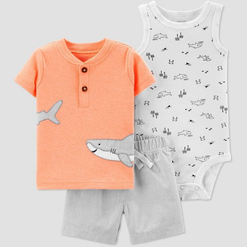 Carter's Baby Boys 3 piece Shark Embroided Top and Bottom Set
