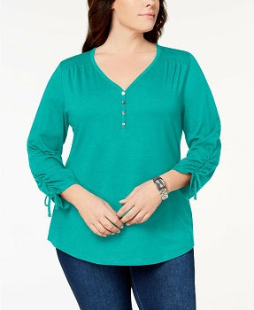 Karen Scott Plus Size Ruched Henley Top
