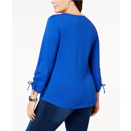 Karen Scott Cotton Ruched Henley Top