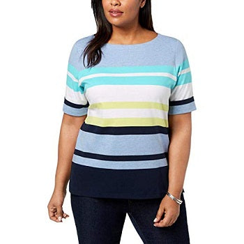 Karen Scott Plus Size Striped Cuffed-Sleeve Top