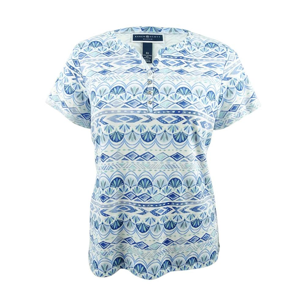 Karen Scott Women's Printed Short-Sleeve Henley Top