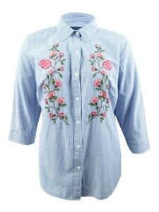 Karen Scott Women's Plus Size Embroidered Shirt
