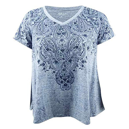 Style & Co Women's V-Neck Swing-Hem T-Shirt