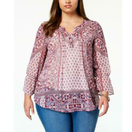 Style & Co. Women's Bell Sleeve V-Neck Peasant Top